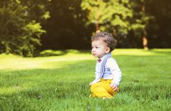 Cute little boy plays in the park. Portrait of cute little boy plays in the park Stock Image