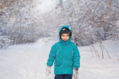 Portrait of a cute little boy stands in winter. Park Stock Photography