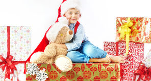 Portrait of cute little boy with teddy bear Stock Photography