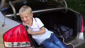 Portrait of a cute little boy in the trunk of the car. Family trip. Road. stock video