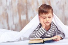 Portrait of a cute little boy under the blanket Royalty Free Stock Images