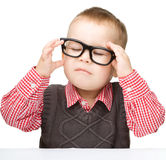 Portrait of a cute little boy wearing glasses Royalty Free Stock Photography