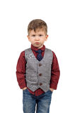 Portrait of a cute little boy. Wearing shirt and vest with the necktie isolated on white background Royalty Free Stock Photography