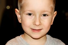 Portrait of cute little boy which is smiling royalty free stock photo
