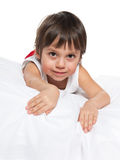 Cute little boy on the white Stock Photography