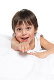 Cute little boy on the white Stock Images