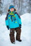 Portrait of cute little boy in winter clothes Stock Photos