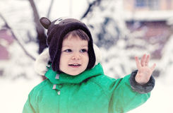 Portrait of cute little boy in winter Stock Photos
