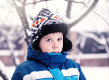 Portrait of cute little boy in winter Royalty Free Stock Image