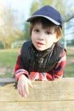 Portrait of cute little boy (3 years) outdoors Stock Photo