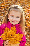 Portrait of cute little caucasian girl Stock Photos