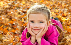Portrait of cute little caucasian girl Stock Photography