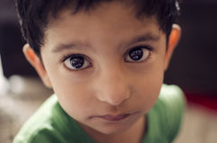 Portrait of cute little child looking at camera stock image