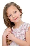 Portrait of cute little girl. Close up Portrait of cute little blond girl. Isolated on white background Stock Image