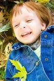 Portrait of a cute little girl. Autumn portrait of a cute little girl with leaves Stock Photo
