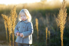 Portrait of a cute little girl on autunm day Stock Photo