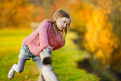 Portrait of a cute little girl on autunm day Stock Photos