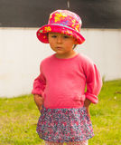 Portrait of cute little girl with big eyes. Portrait of a cute little girl with big eyes and in hat,photo took in New Zealand, photo is usable on picture post Stock Photo
