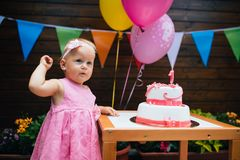 Portrait of little girl at birthday party royalty free stock photo