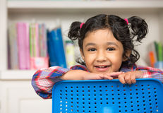 Portrait of a Cute Little Girl. In the Classroom Royalty Free Stock Images