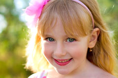 Portrait of cute little girl close-up Stock Photos