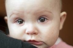 Portrait of a cute little girl crying. Macro Royalty Free Stock Photo
