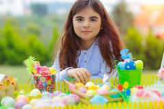 Happy girl enjoying Easter holiday royalty free stock photography