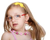 Portrait cute little girl in glasses isolated Stock Photos