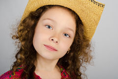 Portrait of cute little girl in hat Royalty Free Stock Photo