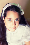 Portrait of a Little Girl in her First Communion Day Stock Photos