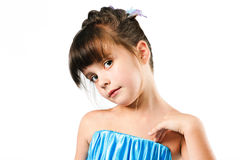 Portrait of cute little girl isolated over white Royalty Free Stock Photos