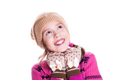 Portrait of cute little girl looking up Royalty Free Stock Images