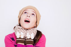 Portrait of cute little girl looking up Royalty Free Stock Photography