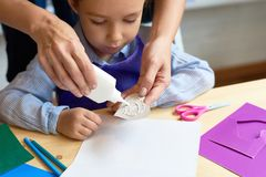 Child in Pre School Lesson stock image