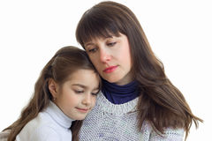 Portrait of a cute little girl with mother close-up Royalty Free Stock Photography