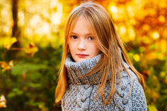 Portrait of a cute little girl. Outdoor portrait of a cute little girl in autumn forest, wearing grey knitted poncho Stock Image