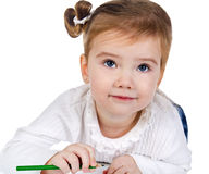 Portrait of cute little girl with a pencil Royalty Free Stock Photography