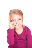 Portrait of a cute little girl with pencil in hand Royalty Free Stock Photo