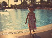 Portrait of cute little girl at the pool Royalty Free Stock Images