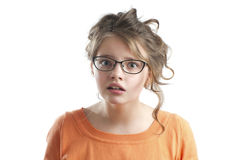 Portrait of a cute little girl puzzled. Stock Photography