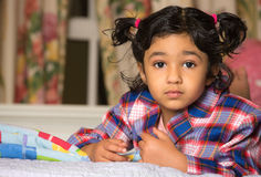 Portrait of a Cute Little Girl. In School Dress Royalty Free Stock Photography
