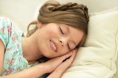 Little girl sleeping. Portrait of a cute little girl sleeping Royalty Free Stock Image