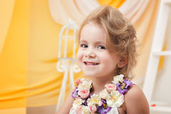 Portrait of cute little girl smiling at camera Stock Photography
