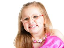 Portrait of a cute little girl smiling isolated Stock Photo