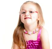 Portrait of a cute little girl smiling isolated Royalty Free Stock Photo