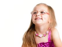 Portrait of a cute little girl smiling isolated Royalty Free Stock Images