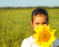 Portrait of a cute little girl with sunflower Stock Photography