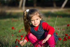 Portrait of a cute little girl in sunny summer day at green nature background. Stock Photos