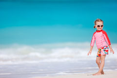 Cute little girl at beach Stock Photo