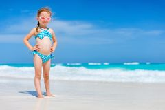 Cute little girl at beach. Portrait of cute little girl at tropical beach Royalty Free Stock Image
